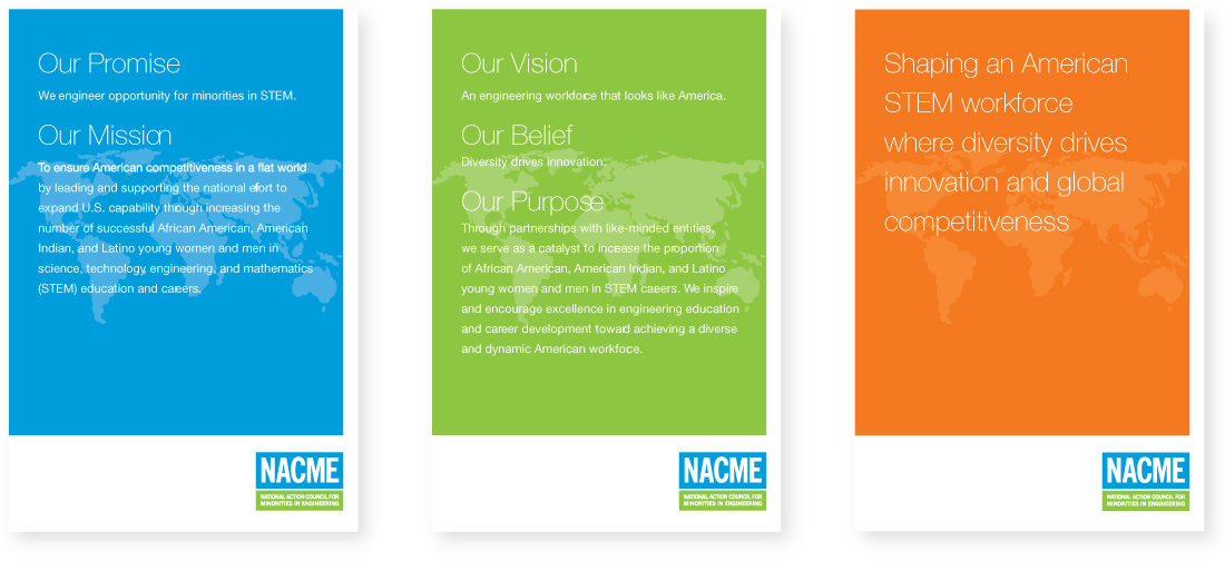 brand design applications, nacme, brand refresh, nonprofit, posters, graphic design, new york