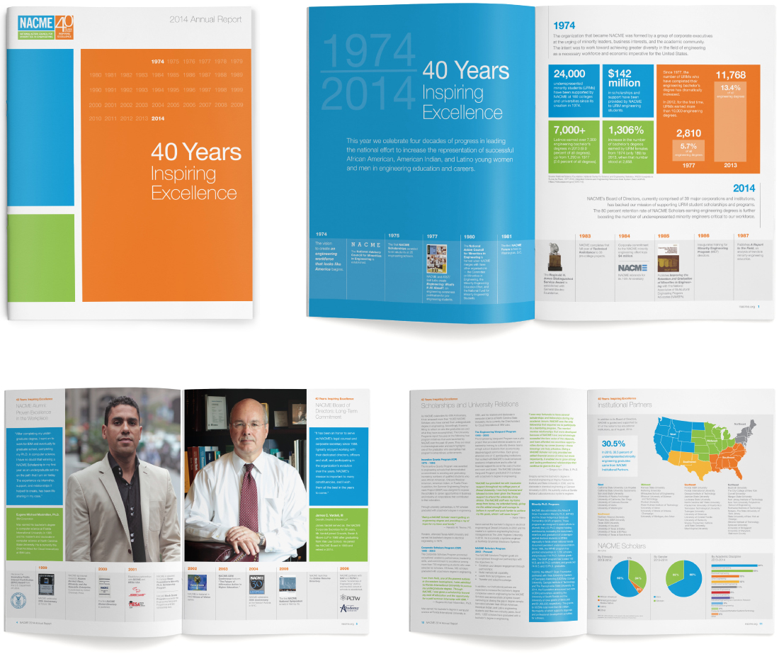 brand design applications, nacme, brand refresh, nonprofit, annual report, graphic design, new york