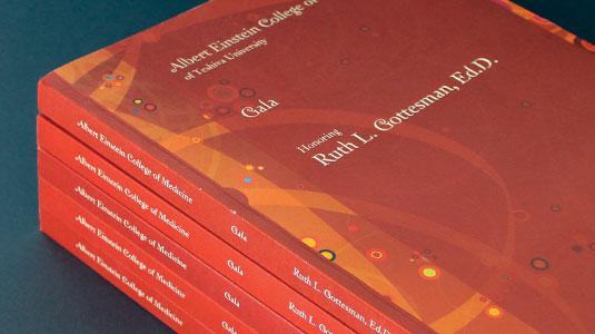 print design, gala journal, fundraising, albert einstein college of medicine, james wawrzewski, graphic design, new york