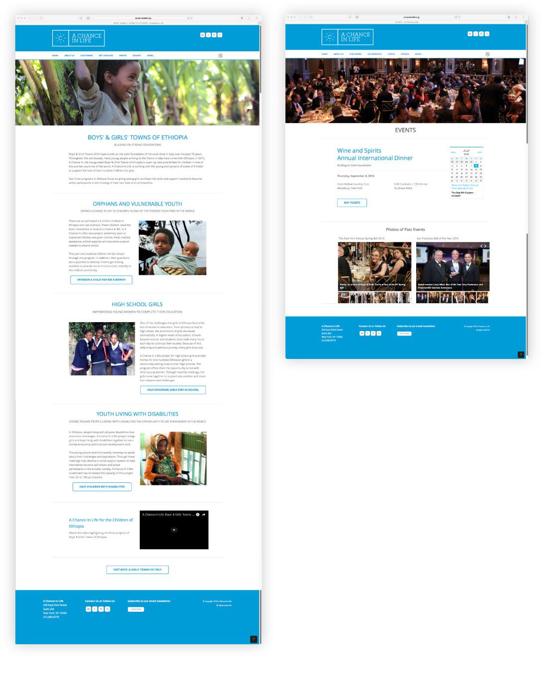 A Chance In Life, nonprofit, website, brand design, james wawrzewski, new york