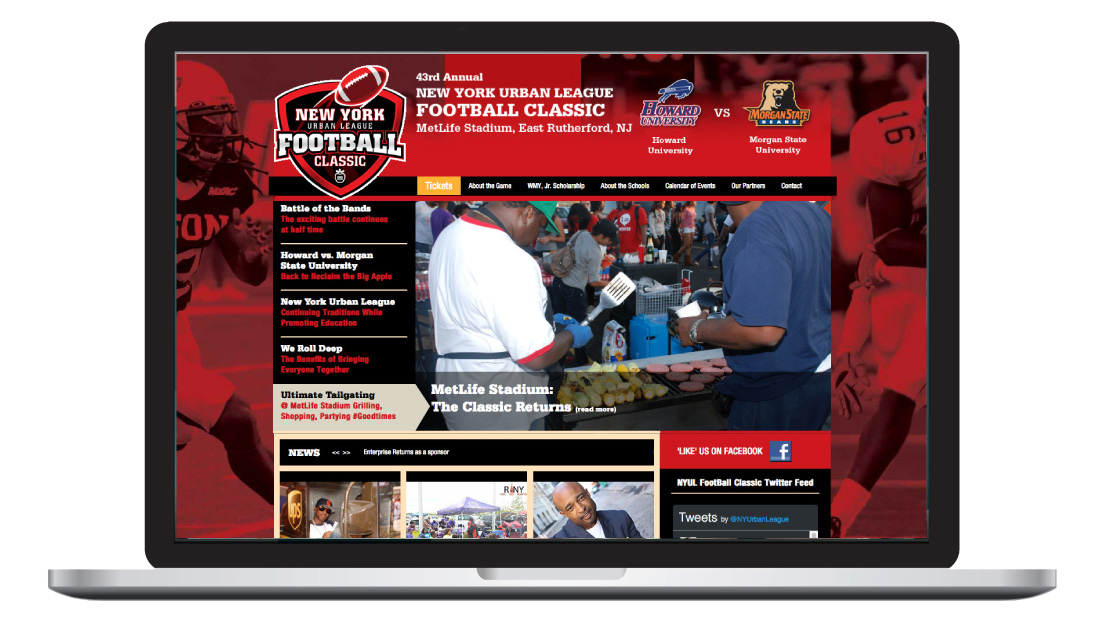 nyul, new york urban league, football classic, graphic design, website, event design, print, ludlow6, james wawrzewski