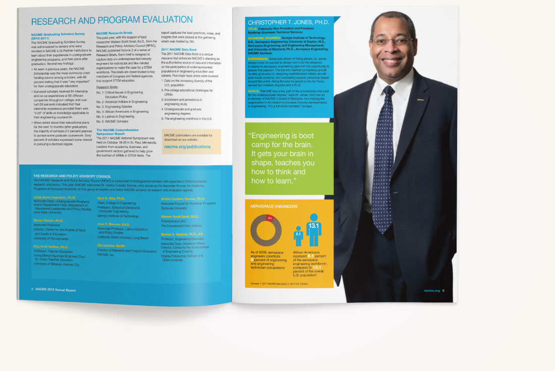 NACME Annual Report, graphic design, brand design, James Wawrzewski, nonprofit, New York designers