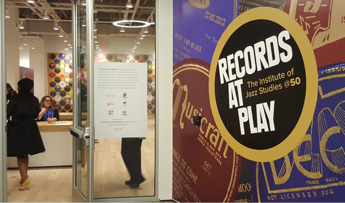 exhibit title graphic, records at play, rutgers university, james wawrzewski