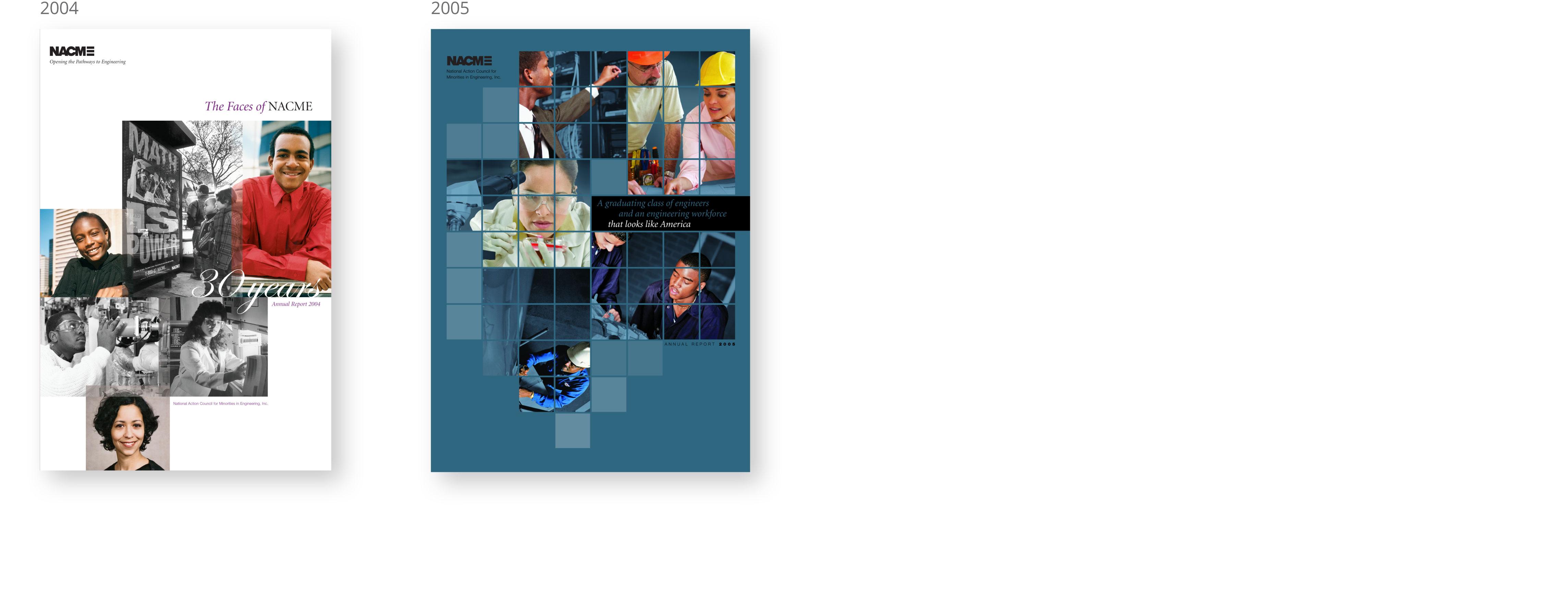 2004 annual report, nacme, brand design, nonprofit, new york, james wawrzewski