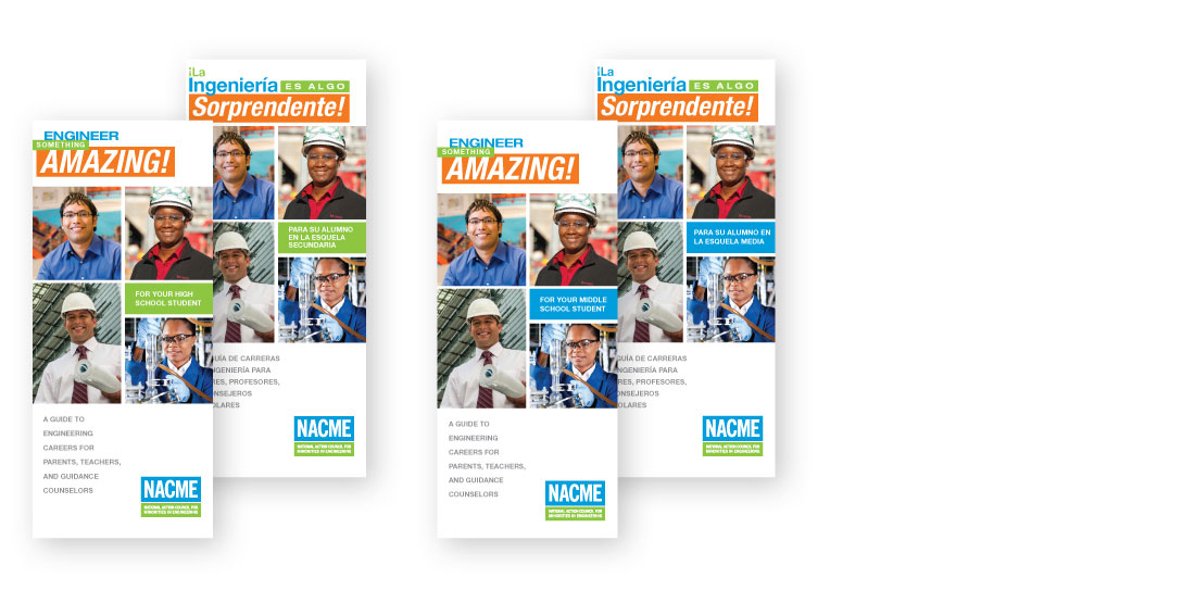 nacme brand design, brochures, NACME, engineering, STEM awareness