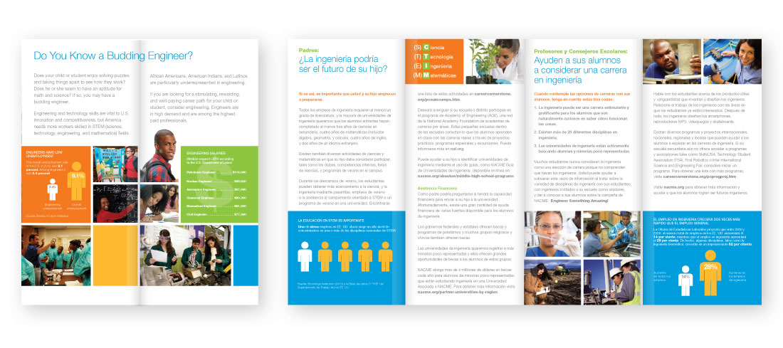 nacme brand design, brochures, NACME, engineering, STEM